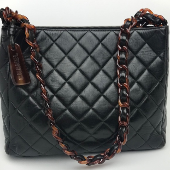 491bbebdb105 CHANEL Bags | Vintage Quilted Tortoise Shell Chain Tote | Poshmark
